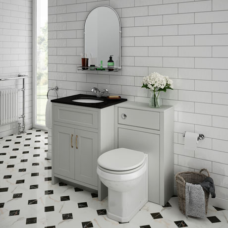 Chatsworth Black Marble Traditional Grey Vanity Unit + Toilet Package