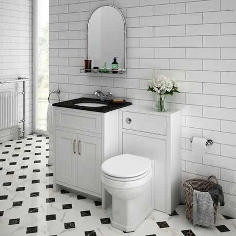 Chatsworth Black Marble Traditional White Vanity Unit + Toilet Package