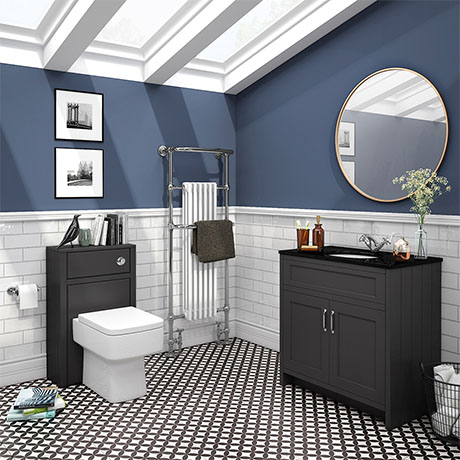 Chatsworth Black Marble 810mm Traditional Graphite Vanity Unit + Toilet Package
