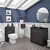 Chatsworth Black Marble 810mm Traditional Graphite Vanity Unit + Toilet Package profile small image view 1