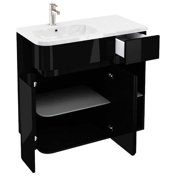 Aqua Cabinets - W900 x D450 Arc Cabinet Unit with Quattrocast Basin - Black profile large image view 2