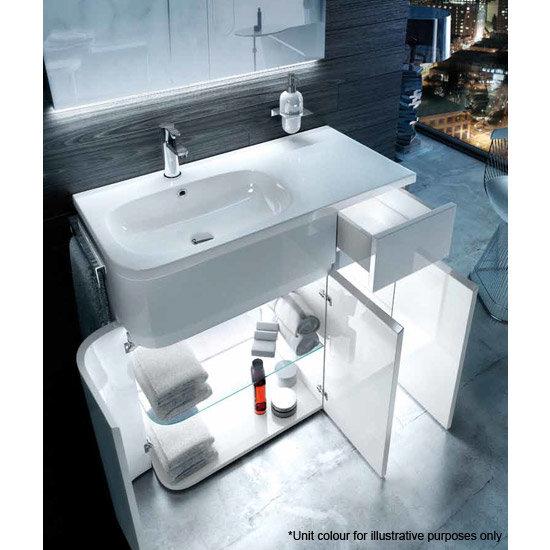 Aqua Cabinets - W900 x D450 Arc Cabinet Unit with Quattrocast Basin - Black Standard Large Image