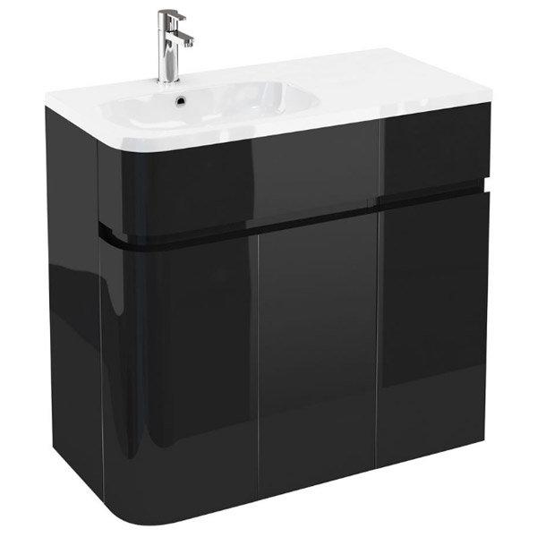 Aqua Cabinets - W900 x D450 Arc Cabinet Unit with Quattrocast Basin - Black profile large image view 1
