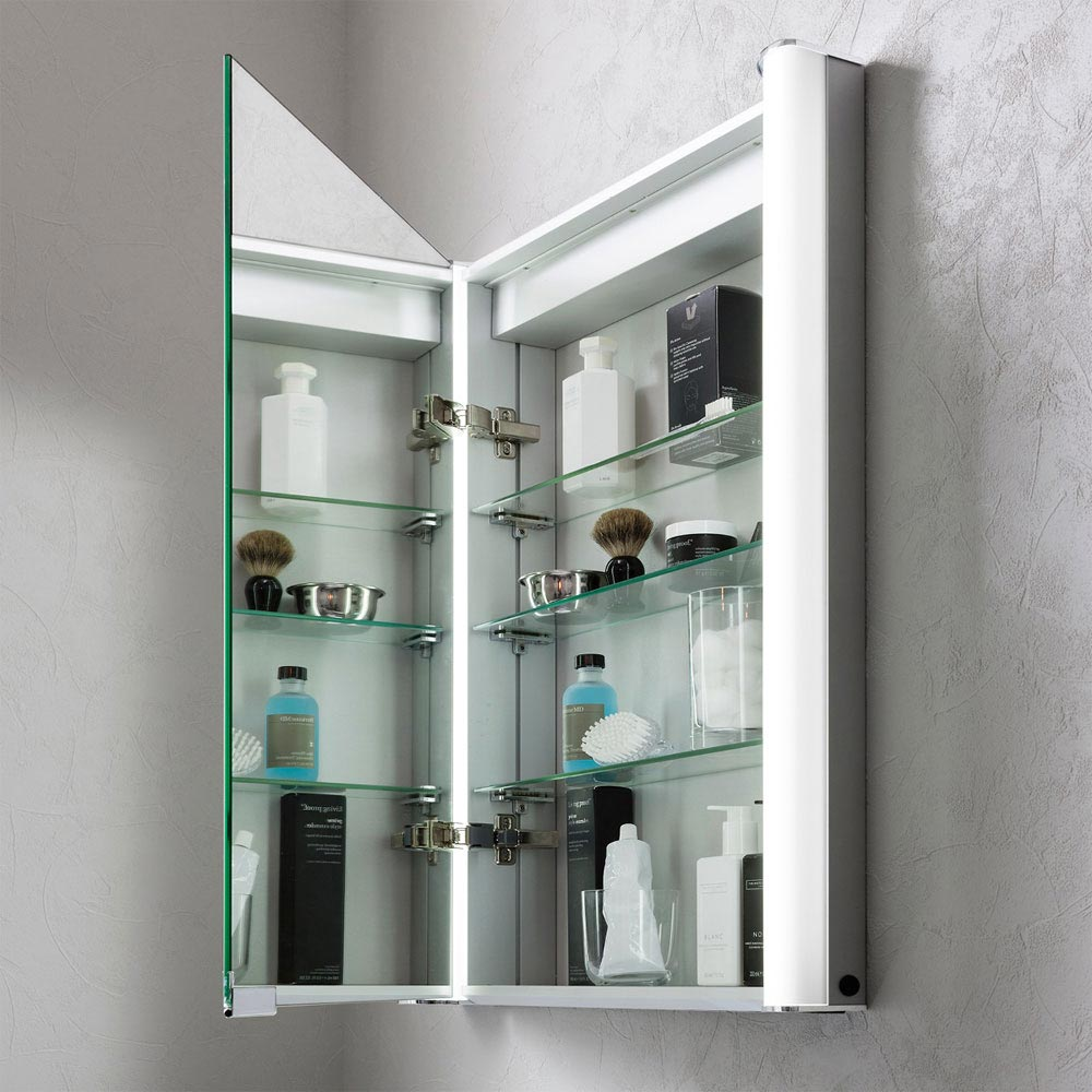 Bauhaus Duo 600 Illuminated Mirrored Cabinet - CBR6076AL Feature Large Image