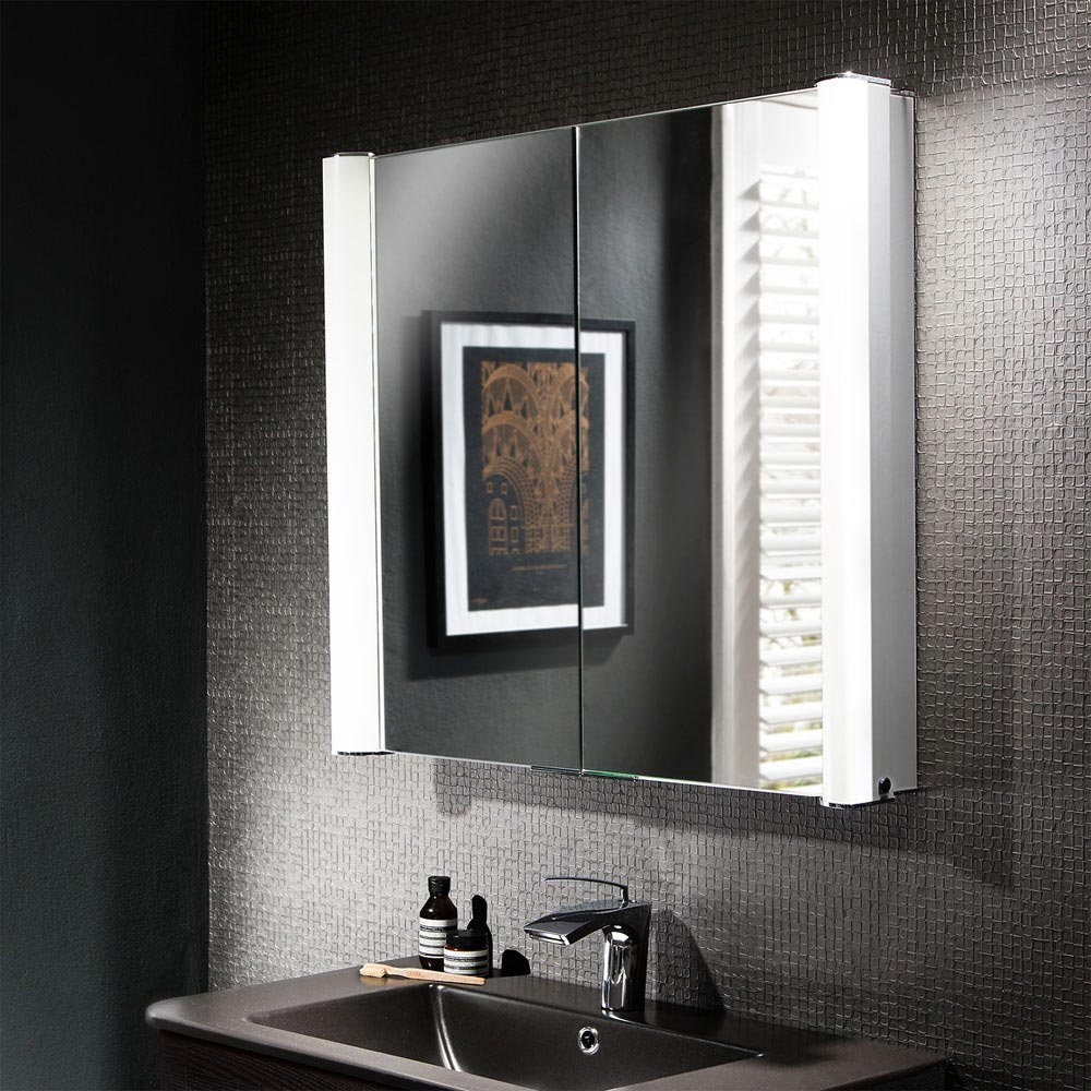 Bauhaus Duo 800 Illuminated Mirrored Cabinet - CBR8076AL Profile Large Image