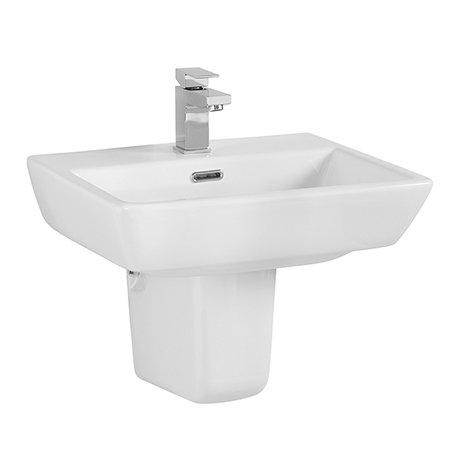 Cubo Basin + Semi Pedestal (520mm Wide - 1 Tap Hole)