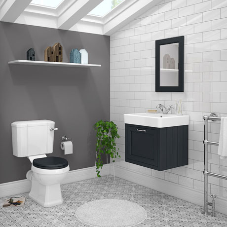 Chatsworth Graphite Cloakroom Suite (Wall Hung Vanity Unit + Close Coupled Toilet)