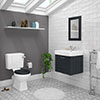 Chatsworth Graphite Cloakroom Suite (Wall Hung Vanity Unit + Close Coupled Toilet) profile small image view 1