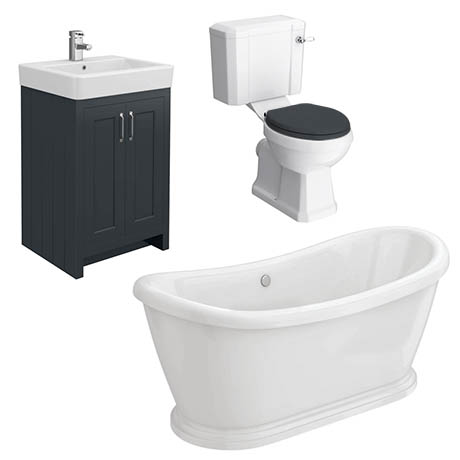 Chatsworth Graphite Close Coupled Roll Top Bathroom Suite