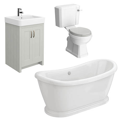 Chatsworth Grey Close Coupled Roll Top Bathroom Suite