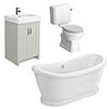 Chatsworth Grey Close Coupled Roll Top Bathroom Suite profile small image view 1