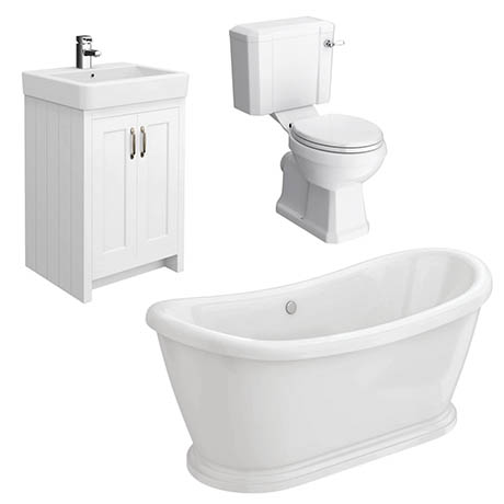 Chatsworth White Close Coupled Roll Top Bathroom Suite