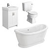 Chatsworth White Close Coupled Roll Top Bathroom Suite profile small image view 1
