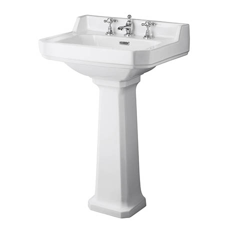Old London Richmond 600mm Traditional 3TH Basin & Full Pedestal
