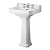 Old London Richmond 600mm Traditional 3TH Basin & Full Pedestal profile small image view 1
