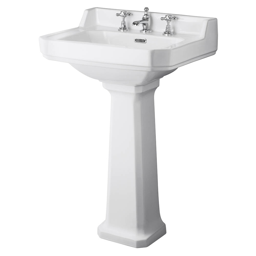 Old London Richmond Comfort Height Traditional 3TH Basin & Pedestal