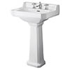 Old London Richmond Comfort Height Traditional 3TH Basin & Pedestal profile small image view 1