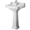 Old London Richmond Comfort Height Traditional 1TH Basin & Pedestal profile small image view 1
