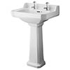 Old London Richmond Comfort Height Traditional 2TH Basin & Pedestal profile small image view 1