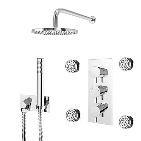 Cruze Shower Pack (Inc. 200mm Wall Mounted Head, 4 Body Jets, Outlet Elbow + Handset)