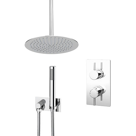 Cruze Shower Pack (Inc. 300mm Ceiling Mounted Head, Wall Outlet Elbow + Shower Handset)