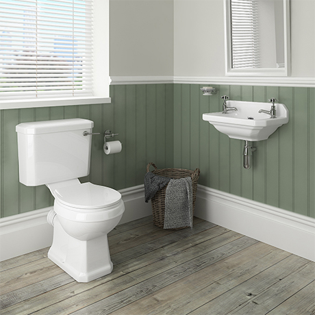 Carlton Traditional Cloakroom Suite - Close Couple Toilet & Wall Hung Basin