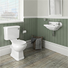 Carlton Traditional Cloakroom Suite - Close Couple Toilet & Wall Hung Basin profile small image view 1