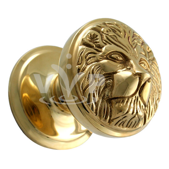 Polished Brass Lion Face Centre Door Knob Cd 386 At