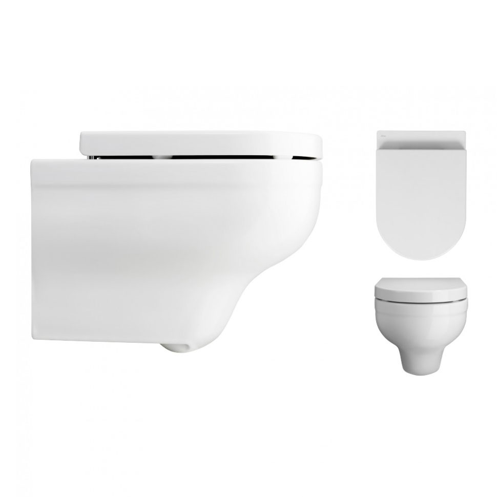 Bauhaus - Central Wall Hung Pan with Soft Close Seat Profile Large Image