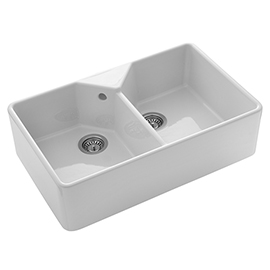 Rangemaster Farmhouse 796 x 491mm Double Bowl Belfast Ceramic Kitchen Sink (Inc. Waste Kits)