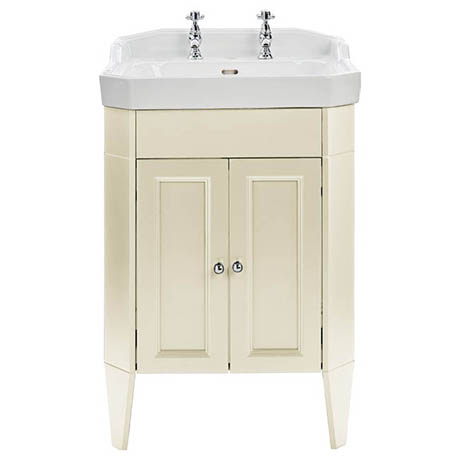 Heritage Caversham Granley Vanity Unit with Chrome Handles & Basin - Oyster