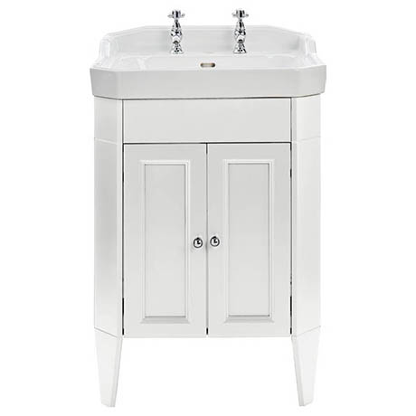 Heritage Caversham Granley Vanity Unit with Chrome Handles & Basin - White Ash