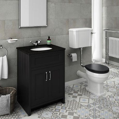 Chatsworth Graphite Black Marble 4-Piece Low Level Bathroom Suite