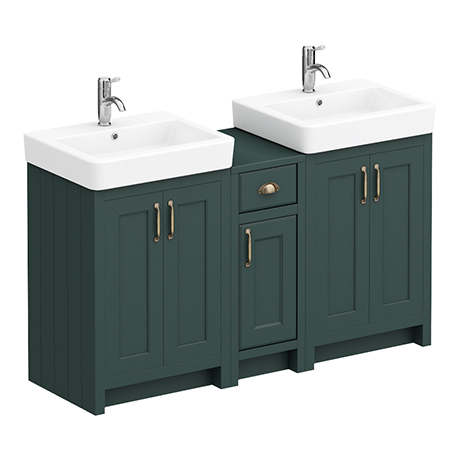 Chatsworth Traditional Green Double Basin Vanity + Cupboard Combination Unit