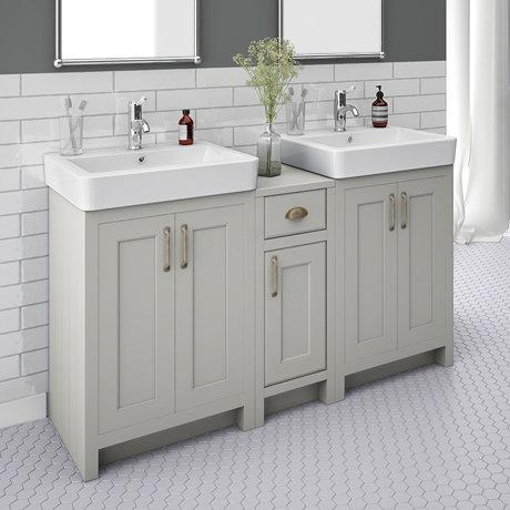 Chatsworth Traditional Grey Double Basin Vanity + Cupboard Combination Unit