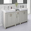 Chatsworth Traditional Grey Double Basin Vanity + Cupboard Combination Unit profile small image view 1