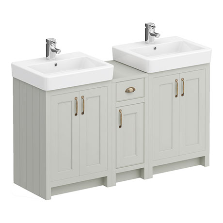 Chartsworth Traditional Grey Double Basin Vanity + Cupboard Combination Unit