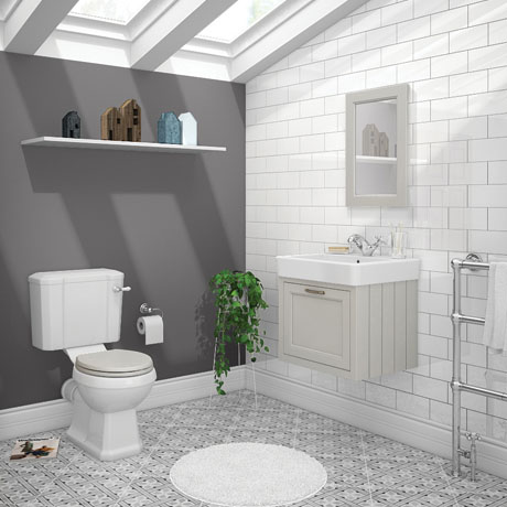 Chatsworth Grey Cloakroom Suite (Wall Hung Vanity Unit + Close Coupled Toilet)