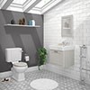 Chatsworth Grey Cloakroom Suite (Wall Hung Vanity Unit + Close Coupled Toilet) profile small image view 1