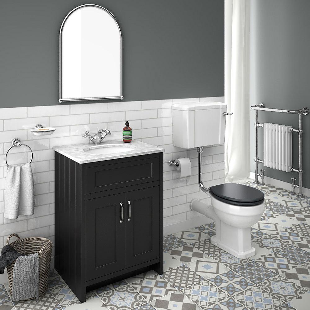 Chatsworth Graphite White Marble 4-Piece Low Level Bathroom Suite
