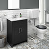 Chatsworth Graphite White Marble 4-Piece Low Level Bathroom Suite profile small image view 1
