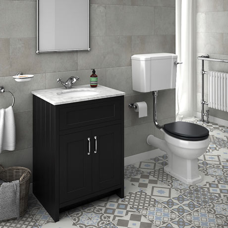 Chatsworth Graphite White Marble 4-Piece Low Level Bathroom Suite