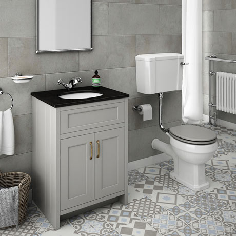 Chatsworth Grey Black Marble 4-Piece Low Level Bathroom Suite