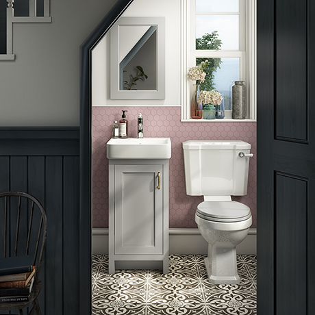 Chatsworth Traditional Grey Cloakroom Suite (Vanity Unit + Close Coupled Toilet)