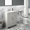 Chatsworth Grey White Marble 4-Piece Low Level Bathroom Suite profile small image view 1