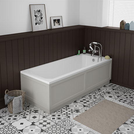 Chatsworth 1700 x 700 Single Ended Bath + Grey Panels
