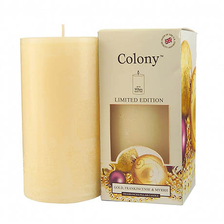 Wax Lyrical Colony Gold, Frankincense & Myrrh Pillar Scented Candle