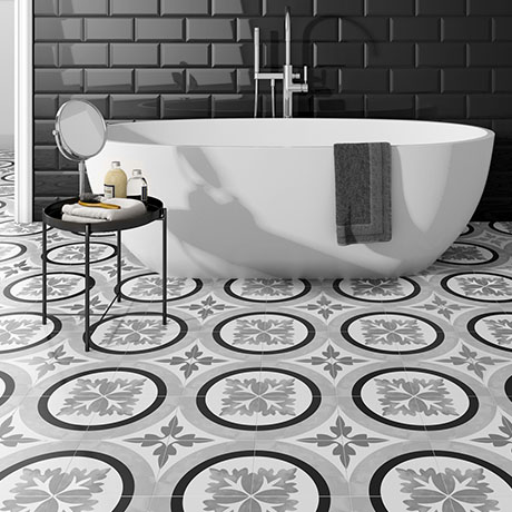 Charlbury Black & White Wall and Floor Tiles - 200 x 200mm