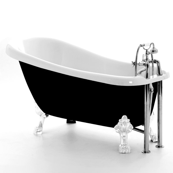 Royce Morgan Chatsworth 1530 Black Freestanding Bath with Waste Large Image
