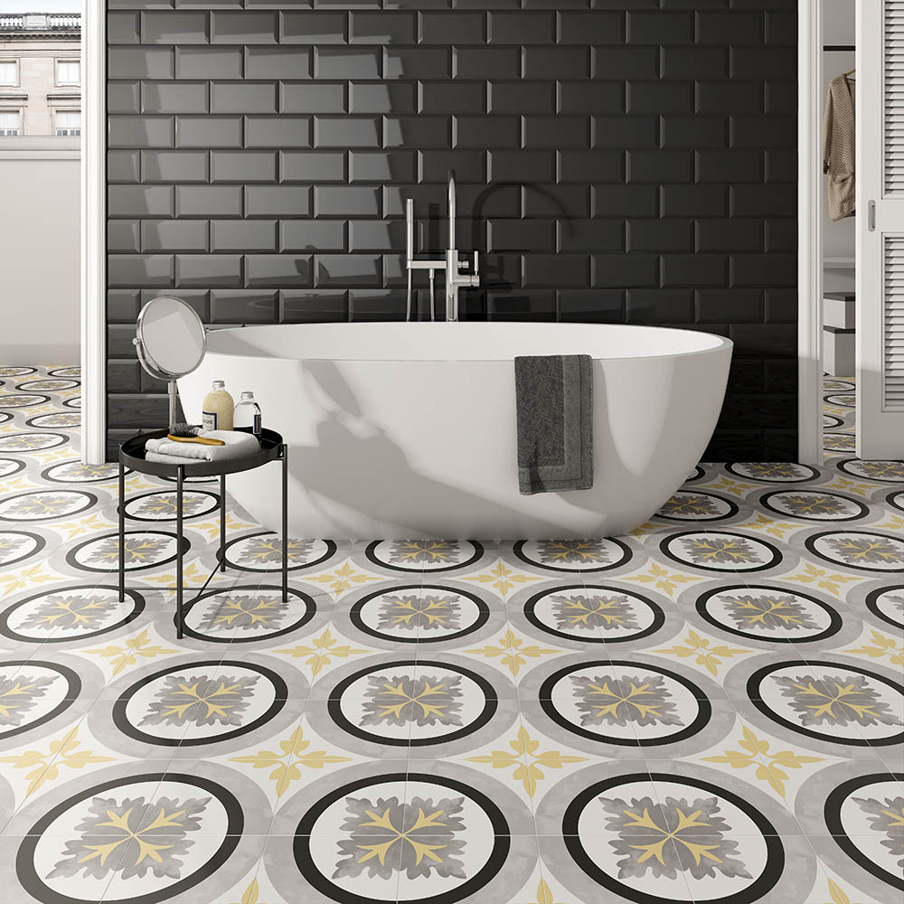 Charlbury Yellow Patterned Tiles